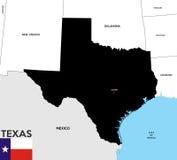 Mapa do estado de Texas Imagens de Stock