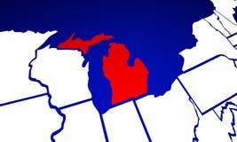 Mapa do estado do Estados Unidos da América do estado de Michigan MI Fotografia de Stock