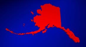 Mapa do Estados Unidos da América 3d de Alaska AK Imagens de Stock