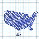 Mapa do Estados Unidos, fundo azul do sumário do esboço ilustração royalty free