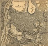 Mapa do exército de Burgoyne, Bemis Hieghts, Saratoga, 1777 Imagem de Stock Royalty Free