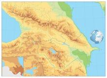 Mapa do exame de Cáucaso NENHUM texto Fotos de Stock Royalty Free
