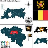 Mapa do Flemish Brabante, Bélgica Fotos de Stock Royalty Free