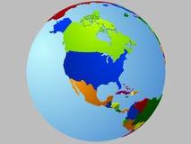 Mapa do globo de America do Norte Imagens de Stock
