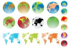 Globo e mapa do mundo do mundo ilustração royalty free