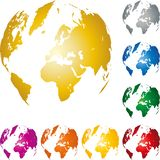 Mapa do globo e da terra, do globo e da terra, globo do mapa do mundo, fundo e logotipo ilustração royalty free