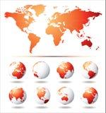 Mapa do globo e de mundo do vetor Imagens de Stock Royalty Free