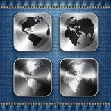 Mapa do globo e de mundo em ícones escovados do app do metal ilustração do vetor