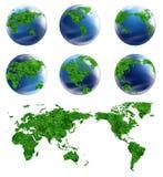 Mapa do globo e do detalhe da coleção do mundo Foto de Stock Royalty Free