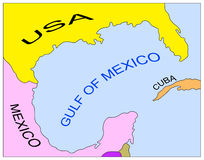 Mapa do golfo de México Fotos de Stock Royalty Free