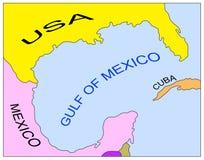 Mapa do golfo de México Fotos de Stock Royalty Free