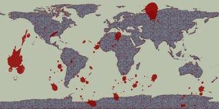 Mapa do grunge da violência do mundo Imagens de Stock Royalty Free