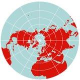 Mapa do hemisfério Norte - estereográfico polar Ilustração Stock
