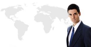 Mapa do homem de negócios e de mundo Fotos de Stock Royalty Free