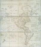 Mapa do início do século XVIII do hemisfério ocidental Fotografia de Stock