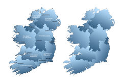 Mapa do Ireland inteiro com regiões Fotos de Stock Royalty Free