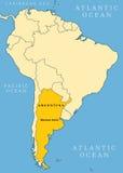 Mapa do localizador de Argentina Fotos de Stock