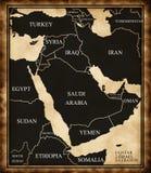 Mapa do Médio Oriente ilustração stock