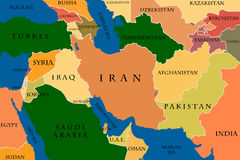 Mapa do Médio Oriente Foto de Stock