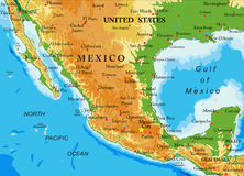 mapa do México-relevo Imagem de Stock