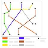 Mapa do metro com estações Mapa moderno do metro com linhas e estações O mapa do transporte subterrâneo ilustração stock