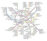 Mapa do metro de Moscou Foto de Stock Royalty Free