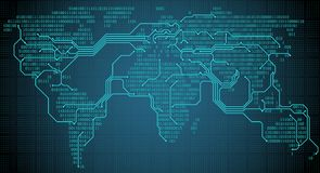 Mapa do mundo abstrato com os continentes, as cidades e conexões binários digitais sob a forma de uma placa de circuito impresso ilustração do vetor