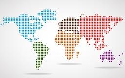 Mapa do mundo abstrato de pontos redondos Fotos de Stock Royalty Free