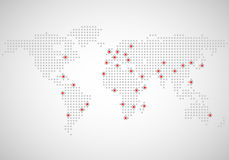 Mapa do mundo abstrato dos pontos Foto de Stock