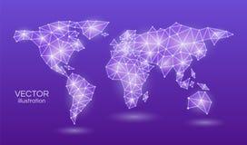 Mapa do mundo abstrato em uma luz de néon da violeta triangular da forma em um fundo roxo Ilustração do vetor ilustração do vetor