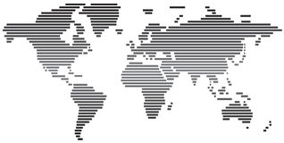 Mapa do mundo abstrato simples preto e branco Foto de Stock Royalty Free
