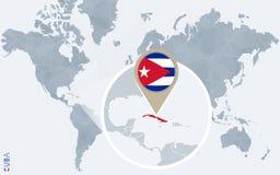 Mapa do mundo azul abstrato com Cuba ampliada Ilustração do Vetor