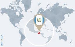 Mapa do mundo azul abstrato com Guatemala ampliada Ilustração do Vetor
