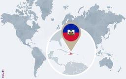 Mapa do mundo azul abstrato com Haiti ampliado Ilustração do Vetor