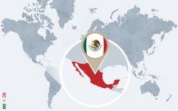 Mapa do mundo azul abstrato com México ampliado Ilustração do Vetor