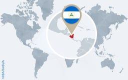 Mapa do mundo azul abstrato com Nicarágua ampliada Ilustração Stock