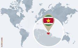 Mapa do mundo azul abstrato com Suriname ampliado Ilustração Stock