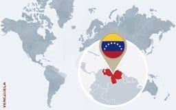 Mapa do mundo azul abstrato com Venezuela ampliada Ilustração Stock