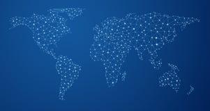 Mapa do mundo azul das comunicações globais ilustração stock