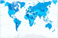 Mapa do mundo azul isolado no branco Fotografia de Stock Royalty Free
