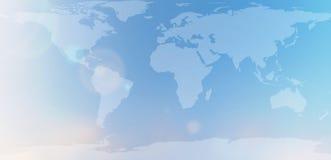 Mapa do mundo azul no sumário borrado do céu do fundo Fotos de Stock Royalty Free