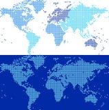 Mapa do mundo azul telhado Fotos de Stock