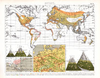 Mapa do mundo botânico de Bilder que mostra bioma regionais Foto de Stock
