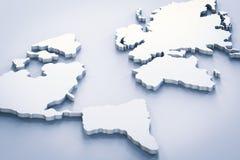 Mapa do mundo branco Imagens de Stock