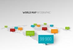 Mapa do mundo claro com marcas do ponteiro das gotas ilustração stock