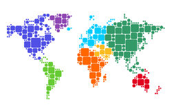 Mapa do mundo colorido Fotos de Stock Royalty Free