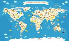 mapa do mundo com animais Ilustração colorida bonita do vetor Imagens de Stock