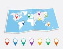 Mapa do mundo com arquivo do vetor dos pinos EPS10 da posição do geo. ilustração royalty free