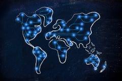 Mapa do mundo com conexões a Internet Fotografia de Stock