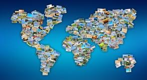 Mapa do mundo com fotos Foto de Stock